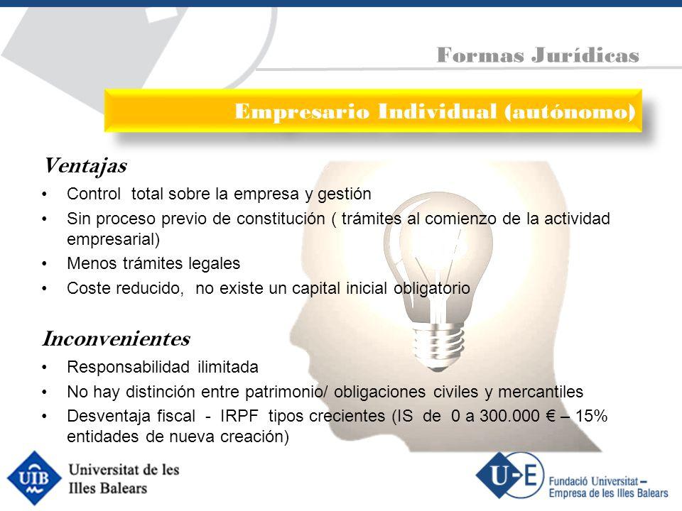 Ventajas Control total sobre la empresa y gestión Sin proceso previo de constitución ( trámites al comienzo de la actividad empresarial) Menos trámite