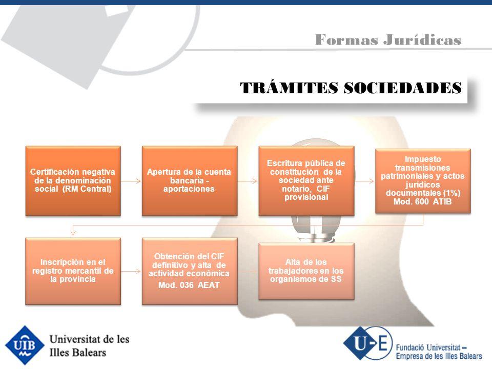 Certificación negativa de la denominación social (RM Central) Apertura de la cuenta bancaria - aportaciones Escritura pública de constitución de la so