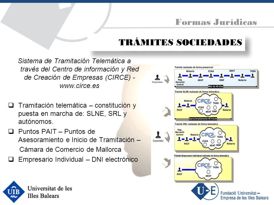 TRÁMITES SOCIEDADES Sistema de Tramitación Telemática a través del Centro de información y Red de Creación de Empresas (CIRCE) - www.circe.es Tramitac