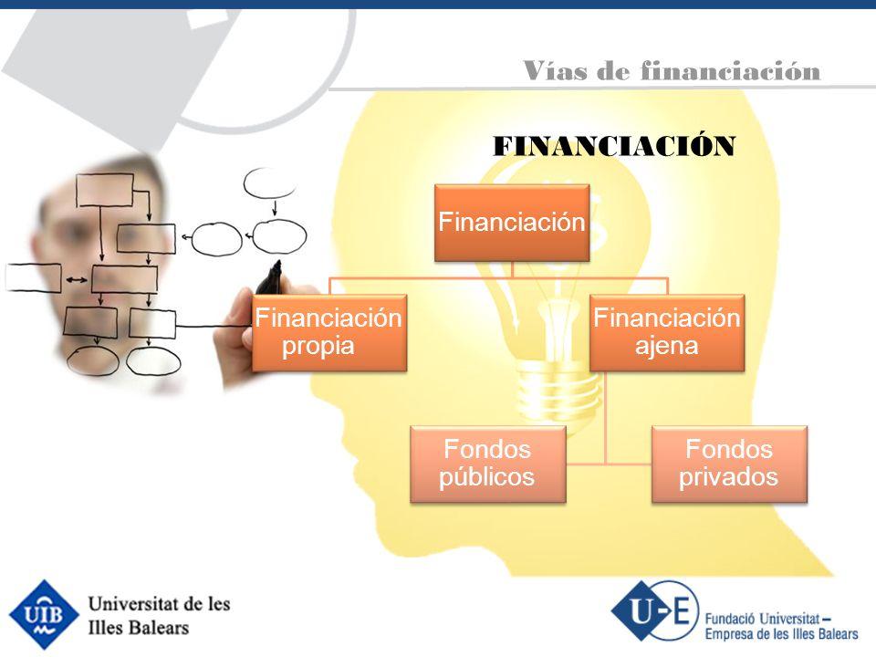 FINANCIACIÓN Vías de financiación Financiación Financiación propia Financiación ajena Fondos públicos Fondos privados