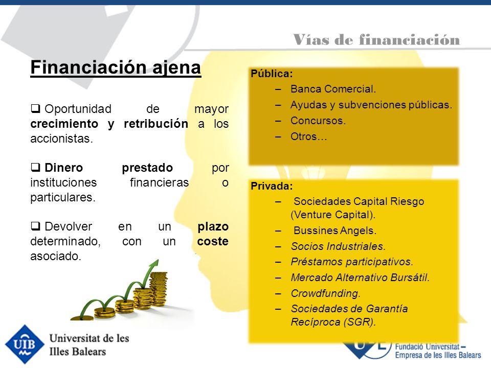 Pública: –Banca Comercial. –Ayudas y subvenciones públicas. –Concursos. –Otros… Vías de financiación Financiación ajena Oportunidad de mayor crecimien