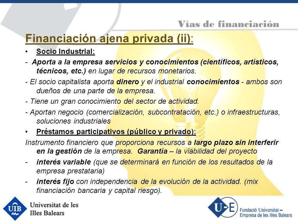 Financiación ajena privada (ii): Socio Industrial: - Aporta a la empresa servicios y conocimientos (científicos, artísticos, técnicos, etc.) en lugar