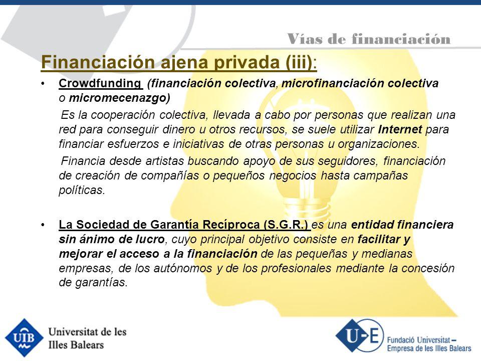 Financiación ajena privada (iii): Crowdfunding (financiación colectiva, microfinanciación colectiva o micromecenazgo) Es la cooperación colectiva, lle