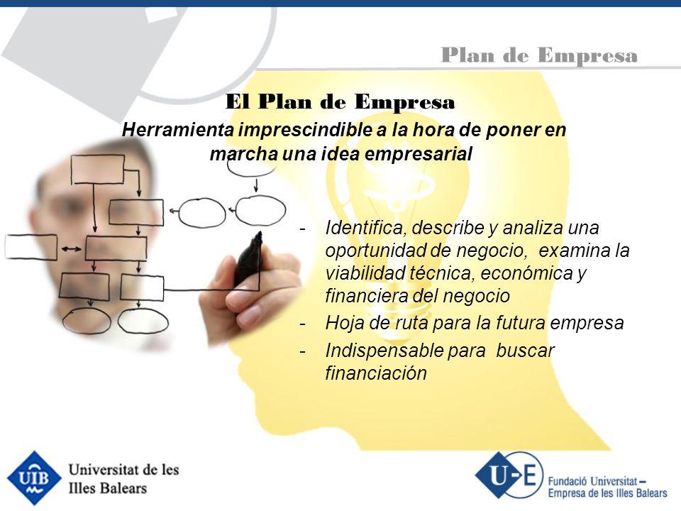 Plan de Empresa Marketing RR.HH Tecnología Elementos clave -El generador de negocio -La oportunidad -El target -La propuesta de valor -Hilo conductor: todo los elementos deben contribuir a un solo objetivo.