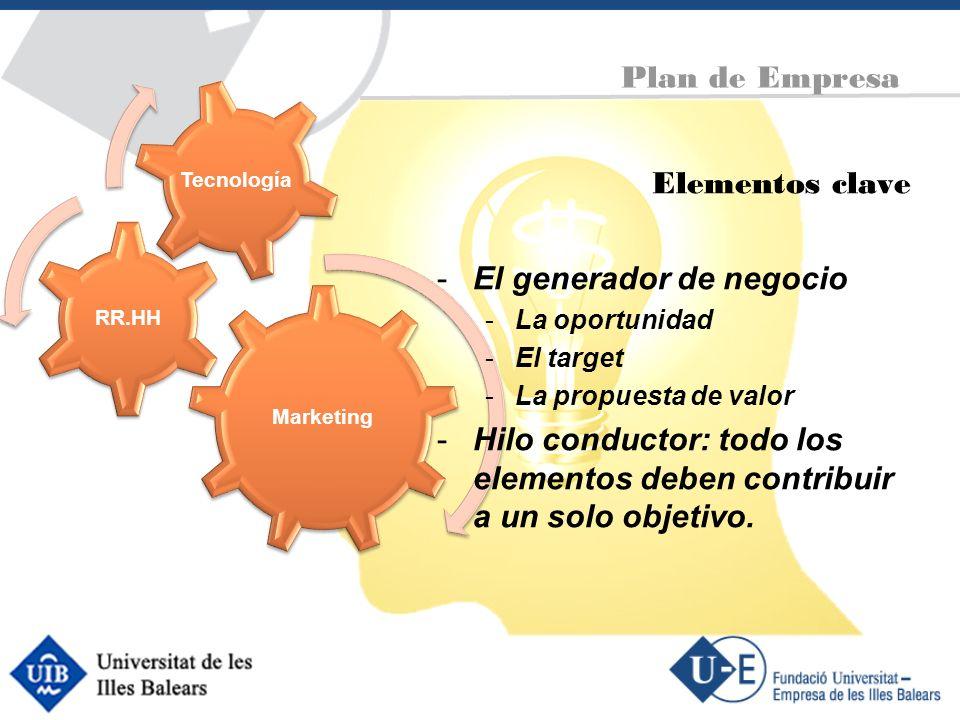 Plan de Empresa Marketing RR.HH Tecnología Elementos clave -El generador de negocio -La oportunidad -El target -La propuesta de valor -Hilo conductor: