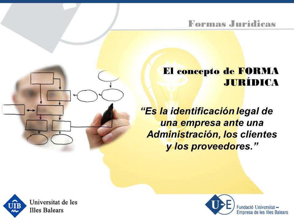 El concepto de FORMA JURÍDICA Es la identificación legal de una empresa ante una Administración, los clientes y los proveedores. Formas Jurídicas