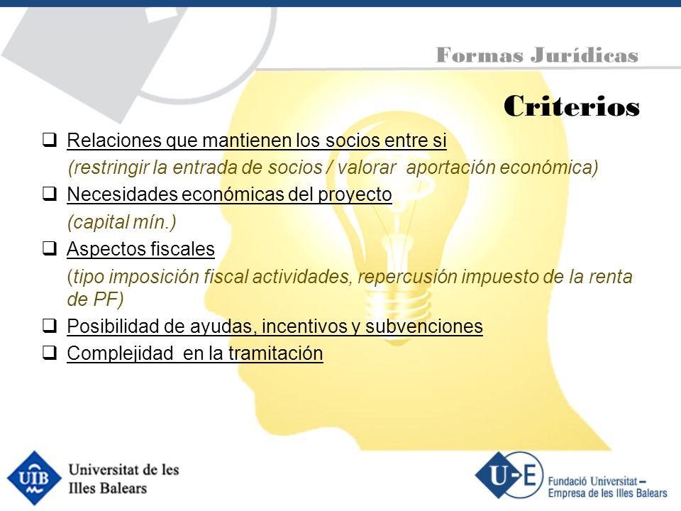 Criterios Relaciones que mantienen los socios entre si (restringir la entrada de socios / valorar aportación económica) Necesidades económicas del pro