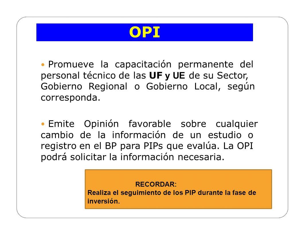 CELAP OPI Registros en el Banco de Proyectos - BP En un PIP viable(SIN DEUDA), puede realizar el cambio de UE de ámbitos institucionales distintos.