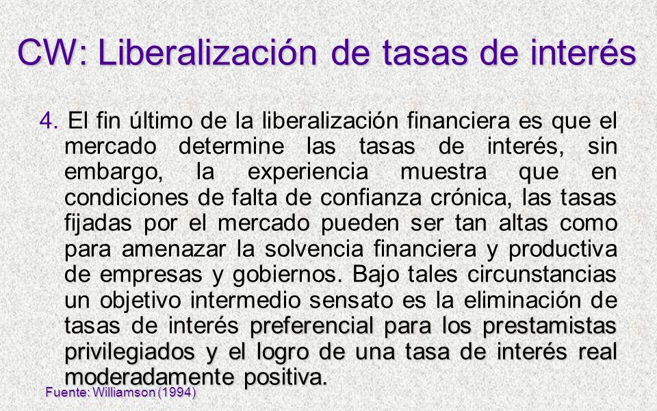 preferencial para los prestamistas privilegiados y el logro de una tasa de interés real moderadamente positiva. 4. El fin último de la liberalización