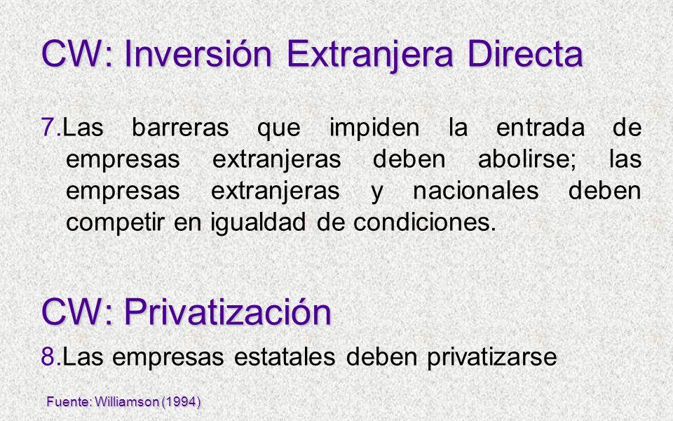 7.Las barreras que impiden la entrada de empresas extranjeras deben abolirse; las empresas extranjeras y nacionales deben competir en igualdad de cond