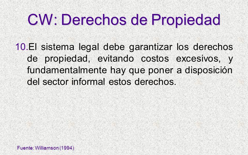 10.El sistema legal debe garantizar los derechos de propiedad, evitando costos excesivos, y fundamentalmente hay que poner a disposición del sector in