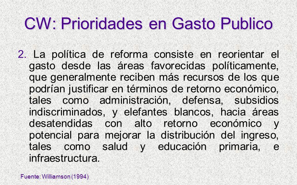 2. La política de reforma consiste en reorientar el gasto desde las áreas favorecidas políticamente, que generalmente reciben más recursos de los que