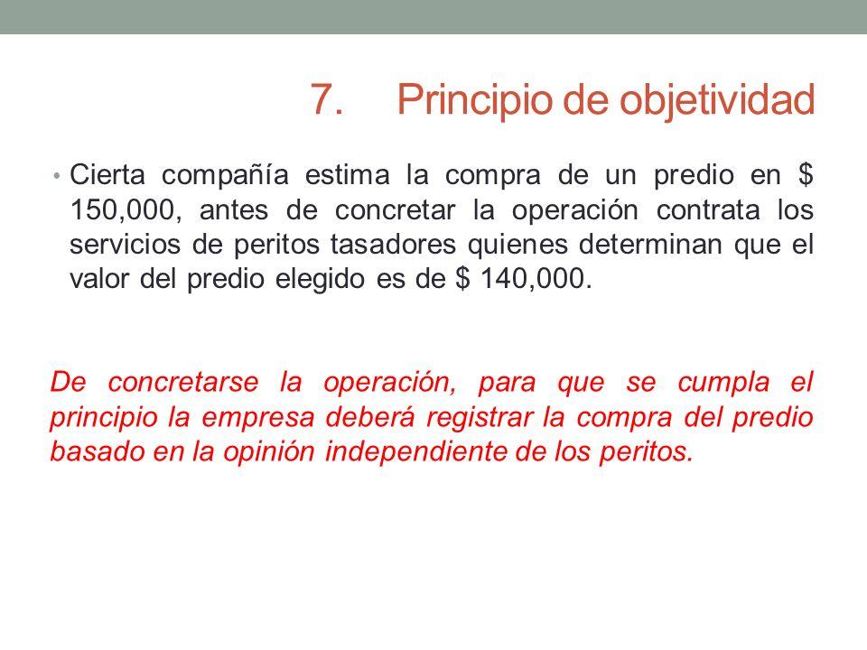 7.Principio de objetividad Cierta compañía estima la compra de un predio en $ 150,000, antes de concretar la operación contrata los servicios de perit
