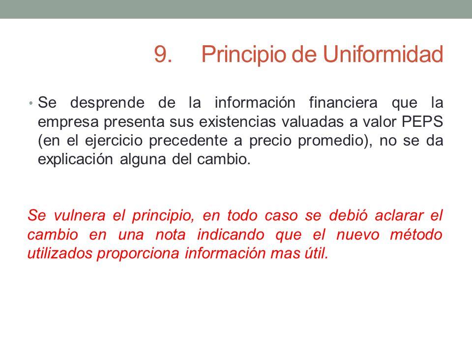 9.Principio de Uniformidad Se desprende de la información financiera que la empresa presenta sus existencias valuadas a valor PEPS (en el ejercicio pr