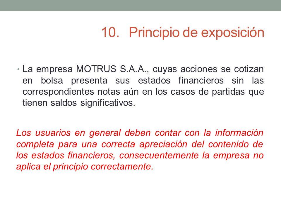 10.Principio de exposición La empresa MOTRUS S.A.A., cuyas acciones se cotizan en bolsa presenta sus estados financieros sin las correspondientes nota