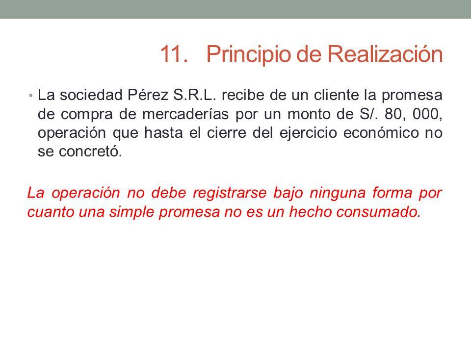 11.Principio de Realización La sociedad Pérez S.R.L. recibe de un cliente la promesa de compra de mercaderías por un monto de S/. 80, 000, operación q