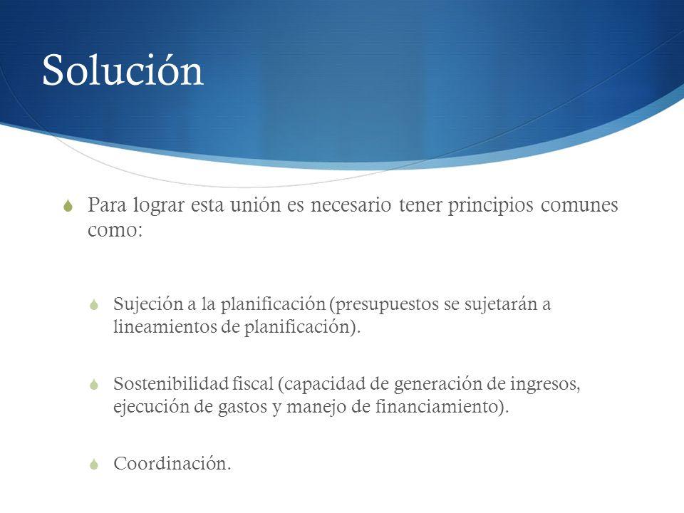 Solución Para lograr esta unión es necesario tener principios comunes como: Sujeción a la planificación (presupuestos se sujetarán a lineamientos de p