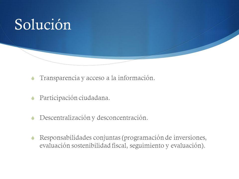 Solución Transparencia y acceso a la información. Participación ciudadana. Descentralización y desconcentración. Responsabilidades conjuntas (programa