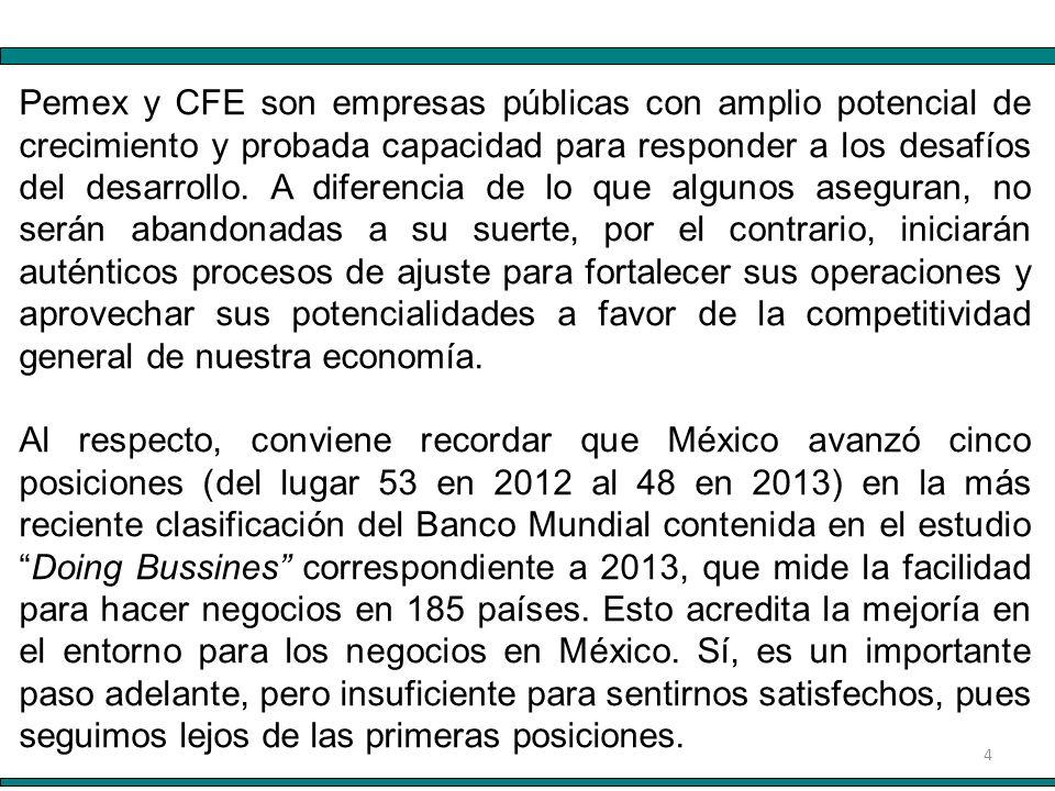 4 Pemex y CFE son empresas públicas con amplio potencial de crecimiento y probada capacidad para responder a los desafíos del desarrollo.