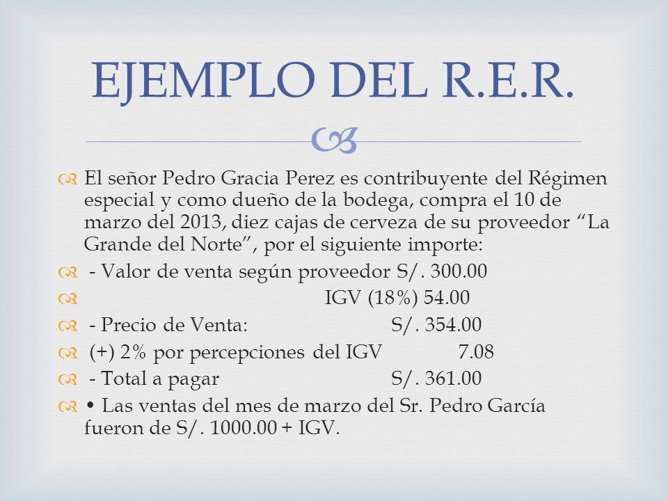 El señor Pedro Gracia Perez es contribuyente del Régimen especial y como dueño de la bodega, compra el 10 de marzo del 2013, diez cajas de cerveza de