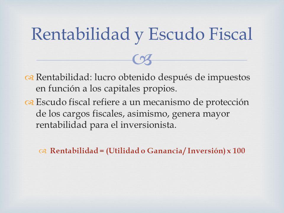 Rentabilidad: lucro obtenido después de impuestos en función a los capitales propios. Escudo fiscal refiere a un mecanismo de protección de los cargos