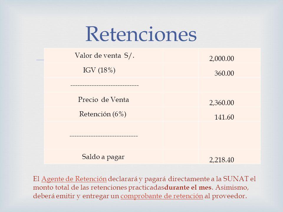 Valor de venta S/. 2,000.00 IGV (18%) 360.00 ----------------------------- Precio de Venta 2,360.00 Retención (6%) 141.60 ----------------------------