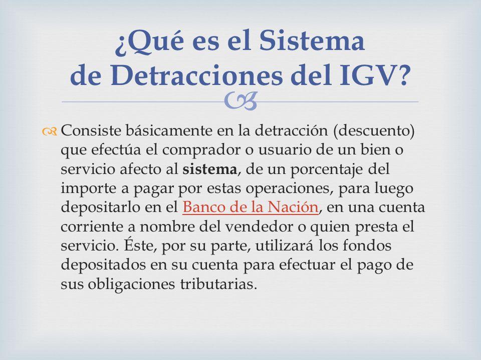 Consiste básicamente en la detracción (descuento) que efectúa el comprador o usuario de un bien o servicio afecto al sistema, de un porcentaje del imp