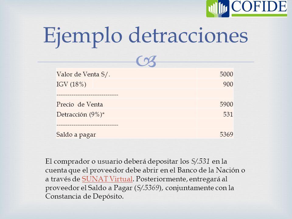 Valor de Venta S/.5000 IGV (18%) 900 ----------------------------- Precio de Venta 5900 Detracción (9%)* 531 ----------------------------- Saldo a pag
