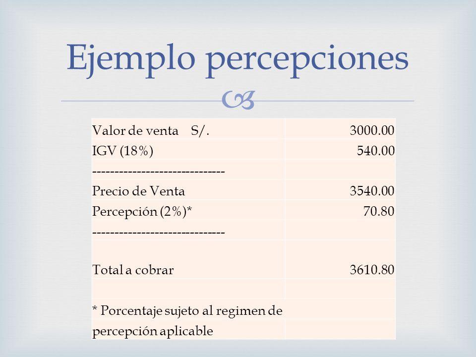 Valor de venta S/.3000.00 IGV (18%) 540.00 ------------------------------ Precio de Venta 3540.00 Percepción (2%)* 70.80 -----------------------------