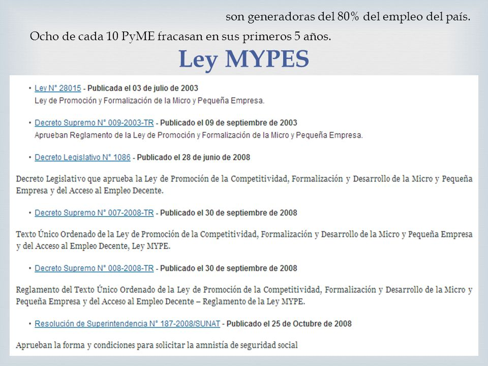 Ley MYPES son generadoras del 80% del empleo del país. Ocho de cada 10 PyME fracasan en sus primeros 5 años.