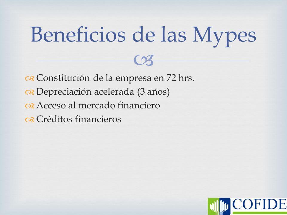 Constitución de la empresa en 72 hrs. Depreciación acelerada (3 años) Acceso al mercado financiero Créditos financieros Beneficios de las Mypes