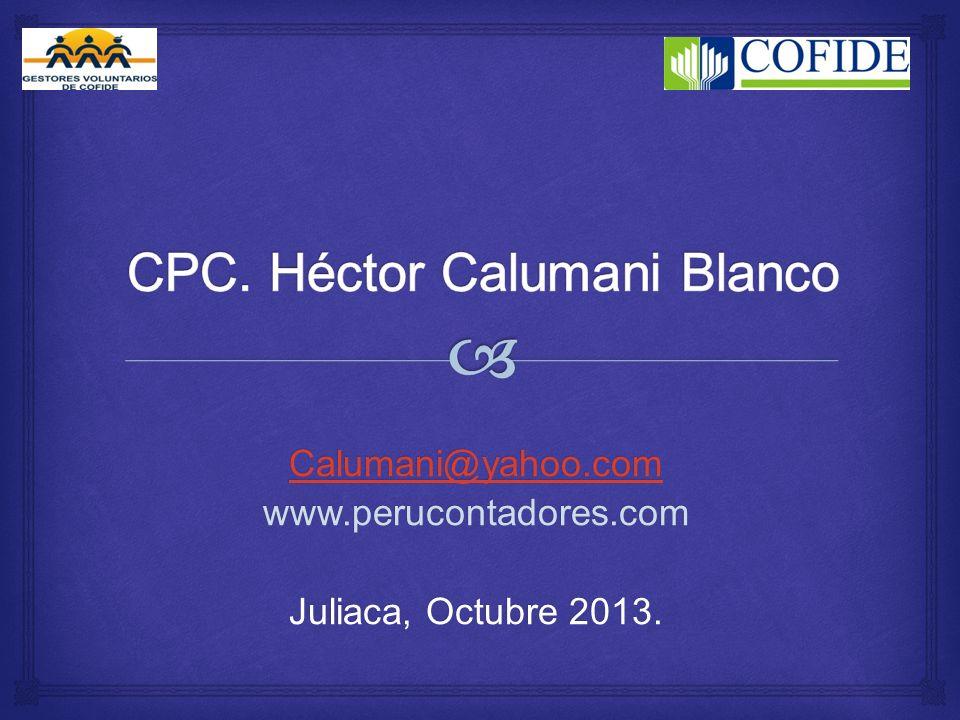 Calumani@yahoo.com www.perucontadores.com Juliaca, Octubre 2013.