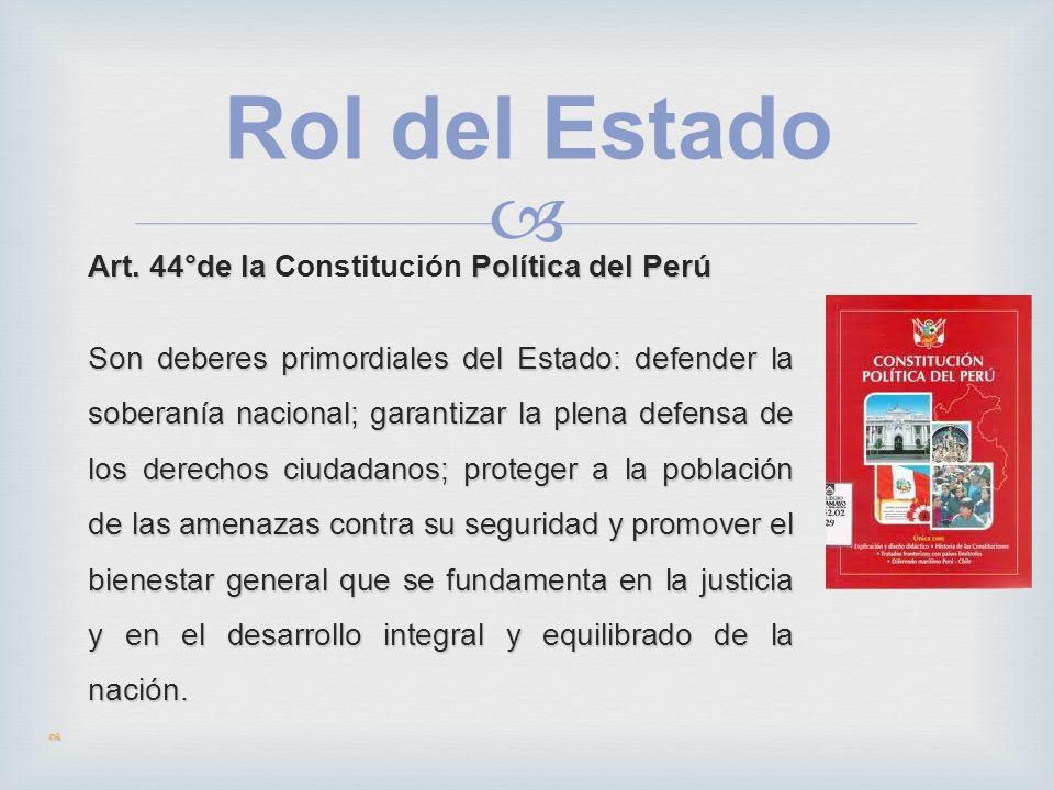 Rol del Estado Art. 44°de la Política del Perú Art. 44°de la Constitución Política del Perú Son deberes primordiales del Estado: defender la soberanía
