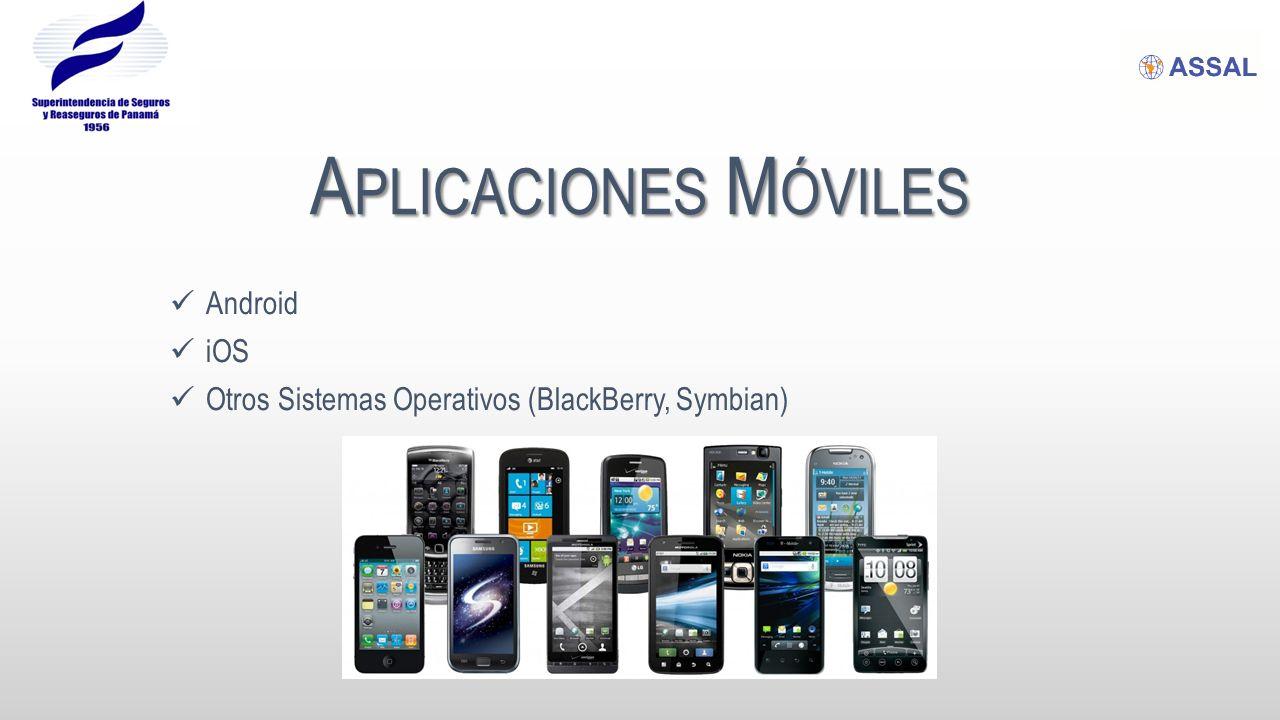 A PLICACIONES M ÓVILES Android iOS Otros Sistemas Operativos (BlackBerry, Symbian)