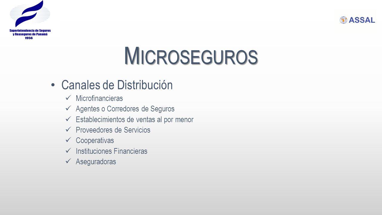 M ICROSEGUROS Canales de Distribución Microfinancieras Agentes o Corredores de Seguros Establecimientos de ventas al por menor Proveedores de Servicios Cooperativas Instituciones Financieras Aseguradoras
