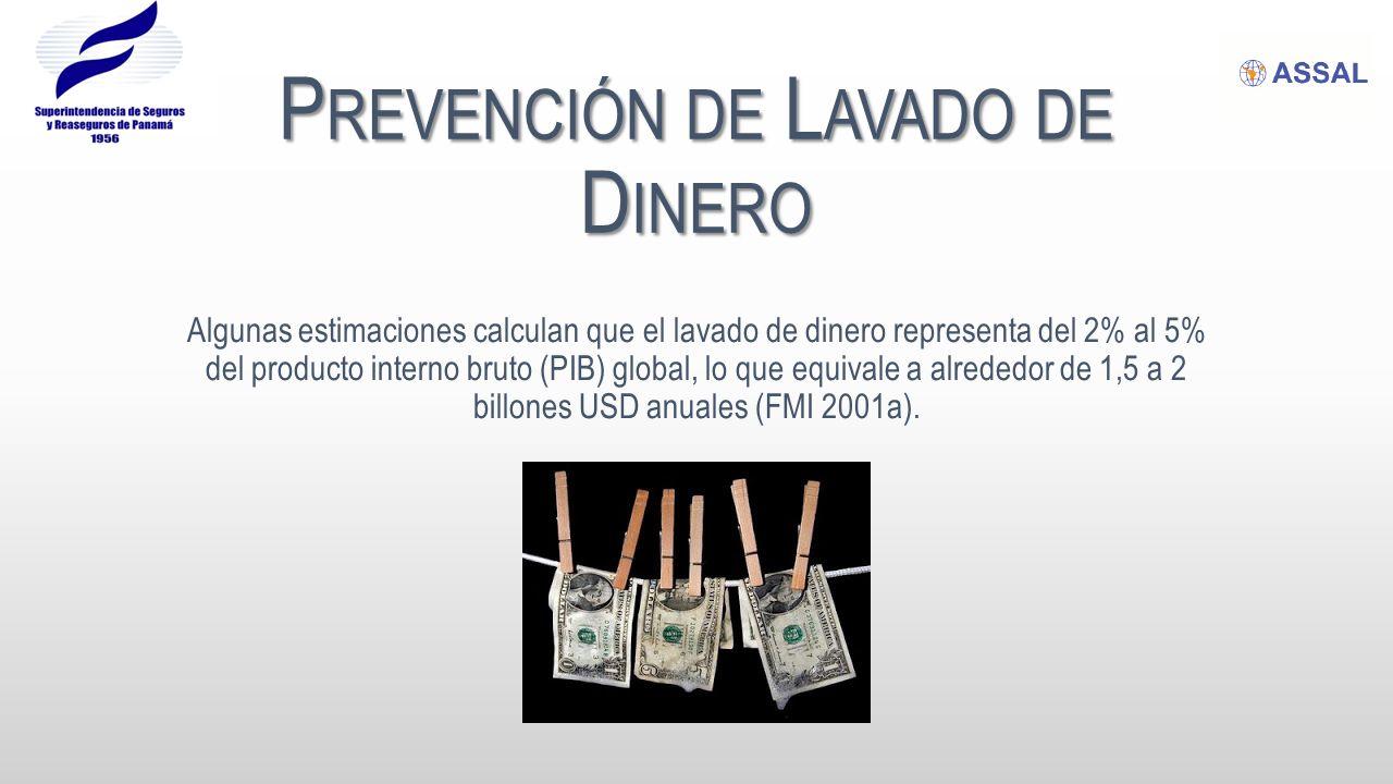 P REVENCIÓN DE L AVADO DE D INERO Algunas estimaciones calculan que el lavado de dinero representa del 2% al 5% del producto interno bruto (PIB) global, lo que equivale a alrededor de 1,5 a 2 billones USD anuales (FMI 2001a).