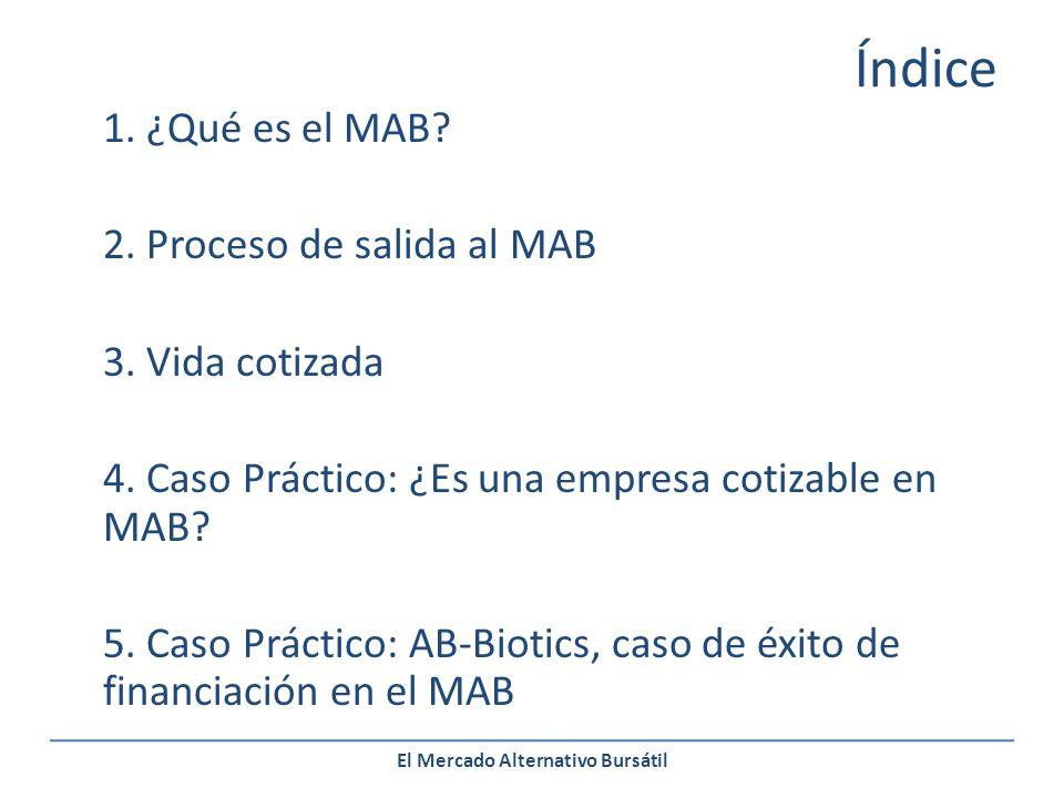 El Mercado Alternativo Bursátil Proceso de salida al MAB DIA D: Debut en el MAB Las acciones comienzan a cotizar