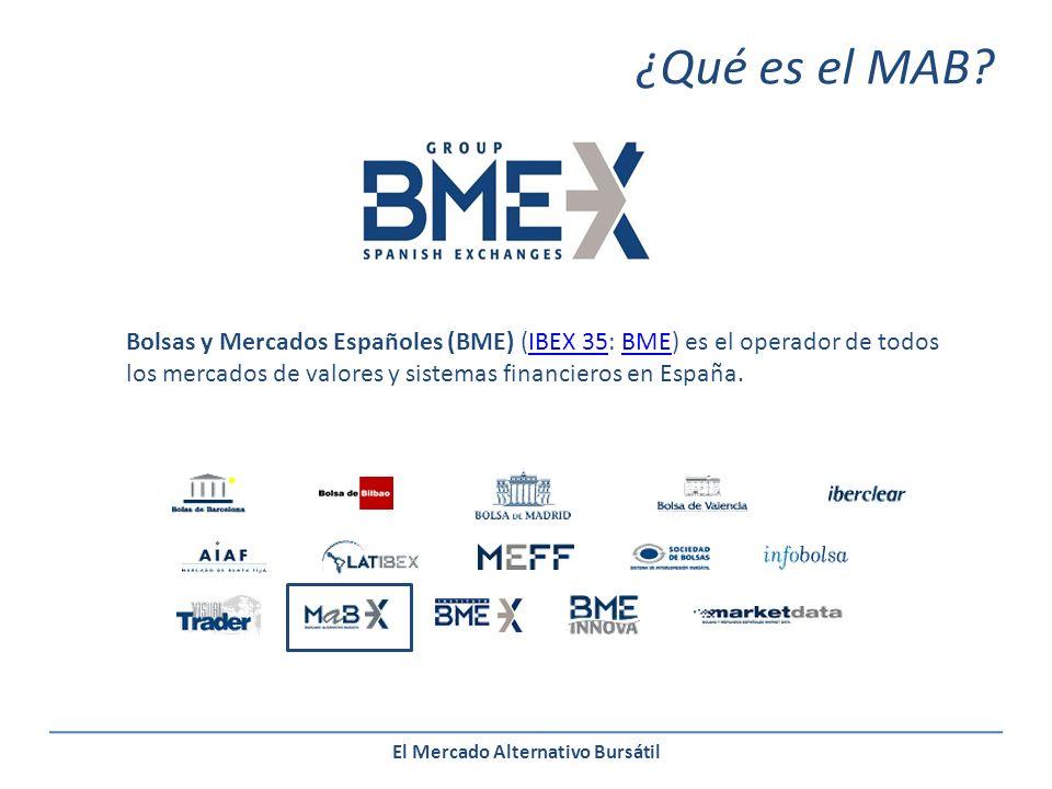 El Mercado Alternativo Bursátil Bolsas y Mercados Españoles (BME) (IBEX 35: BME) es el operador de todos los mercados de valores y sistemas financieros en España.IBEX 35BME ¿Qué es el MAB?