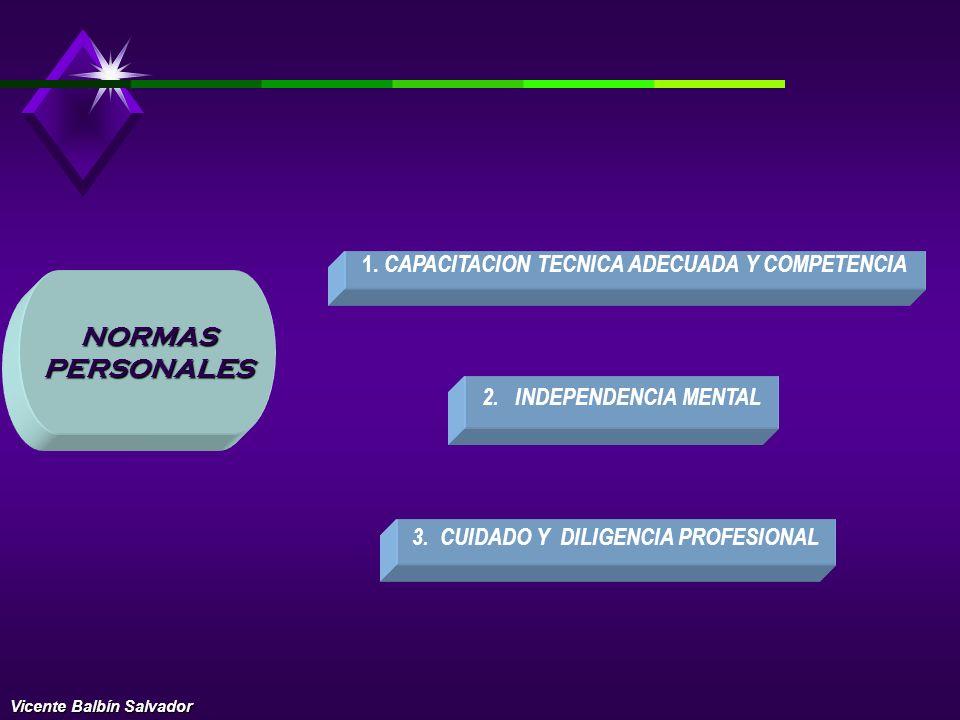 NORMAS PERSONALES DEL PERITO CAPACIDAD PROFESIONAL ENTRENAMIENTO TECNICO Y CUIDADO Y DILIGENCIA PROFESIONAL INDEPENDENCIA MENTAL LAS NORMAS DE NATURAL