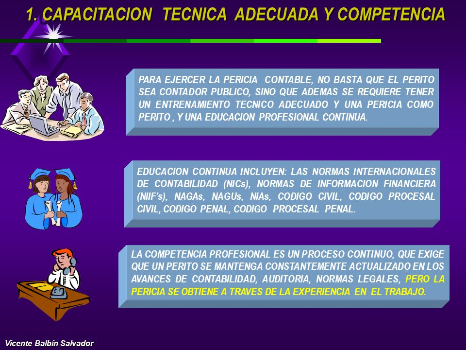 1. C APACITACION TECNICA ADECUADA Y COMPETENCIA 2. INDEPENDENCIA MENTAL NORMAS PERSONALES 3. CUIDADO Y DILIGENCIA PROFESIONAL