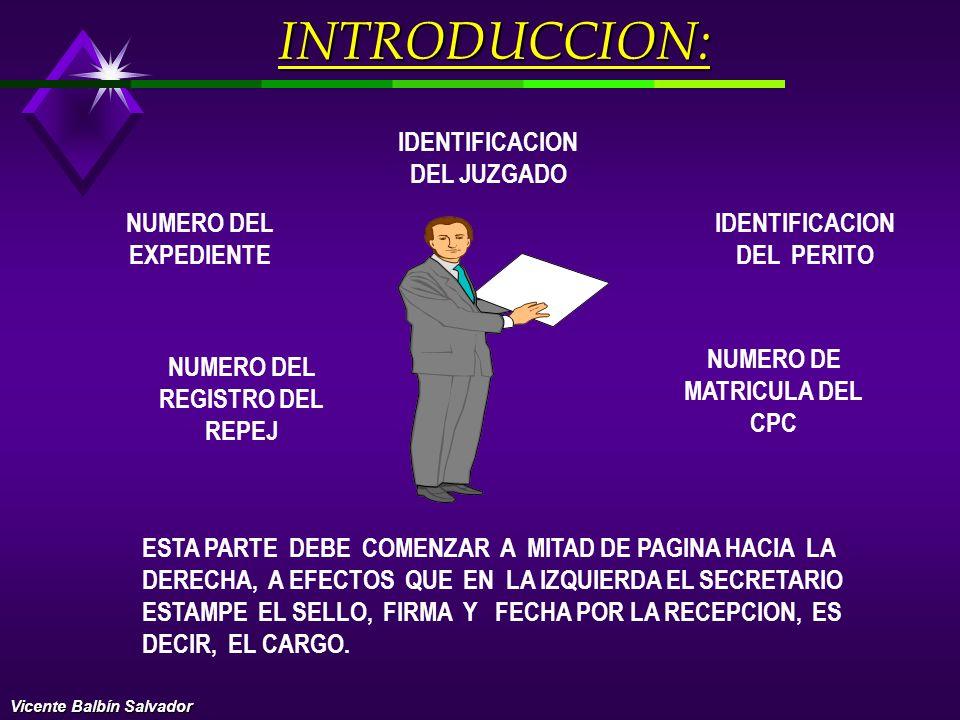 INCLUYE LA IDENTIFICACION DEL JUZGADO, DEL EXPEDIENTE Y LA DEL PERITO, SUS GENERALES DE LEY, COMO NOMBRES Y APELIDOS, NUMERO DEL DNI DOMICILIO, CODIGO