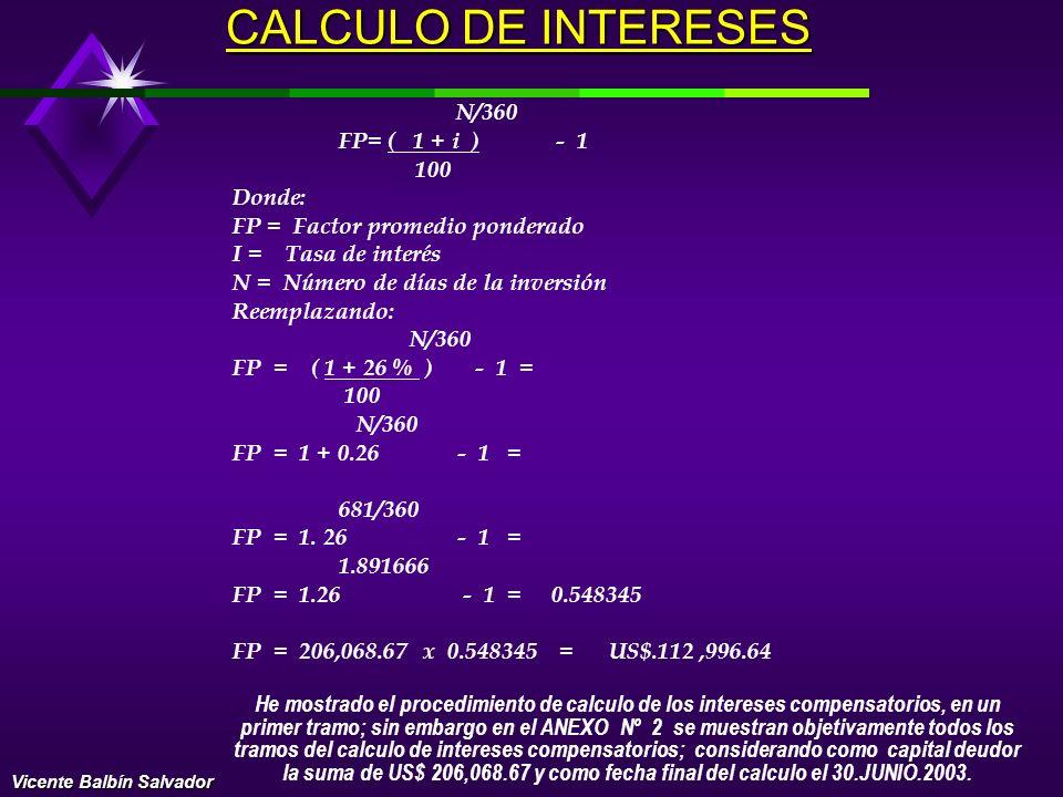 EXAMEN PERICIAL Procedimiento de cálculo de intereses compensatorios y moratorios: Para el cálculo de los INTERESES COMPENSATORIOS, he considerado la