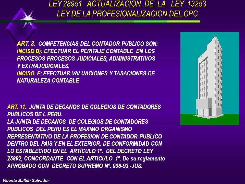 ART. 4: CORRESPONDE A LOS CONTADORES PUBLICOS EFECTUAR Y AUTORIZAR TODA CLASE DE BALANCES, PERITAJES Y TRANSACCIONES DE SU ESPECIALIDAD, OPERACIONES D