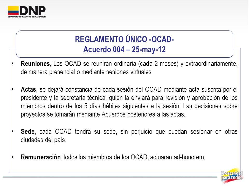 Reuniones, Los OCAD se reunirán ordinaria (cada 2 meses) y extraordinariamente, de manera presencial o mediante sesiones virtuales Actas, se dejará co