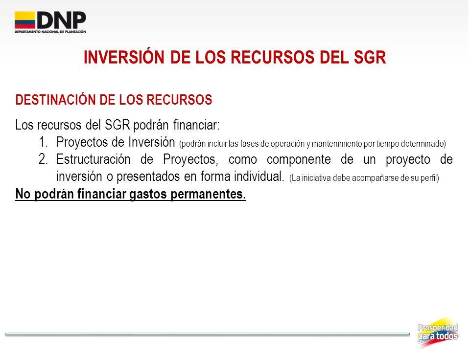INVERSIÓN DE LOS RECURSOS DEL SGR DESTINACIÓN DE LOS RECURSOS Los recursos del SGR podrán financiar: 1.Proyectos de Inversión (podrán incluir las fase