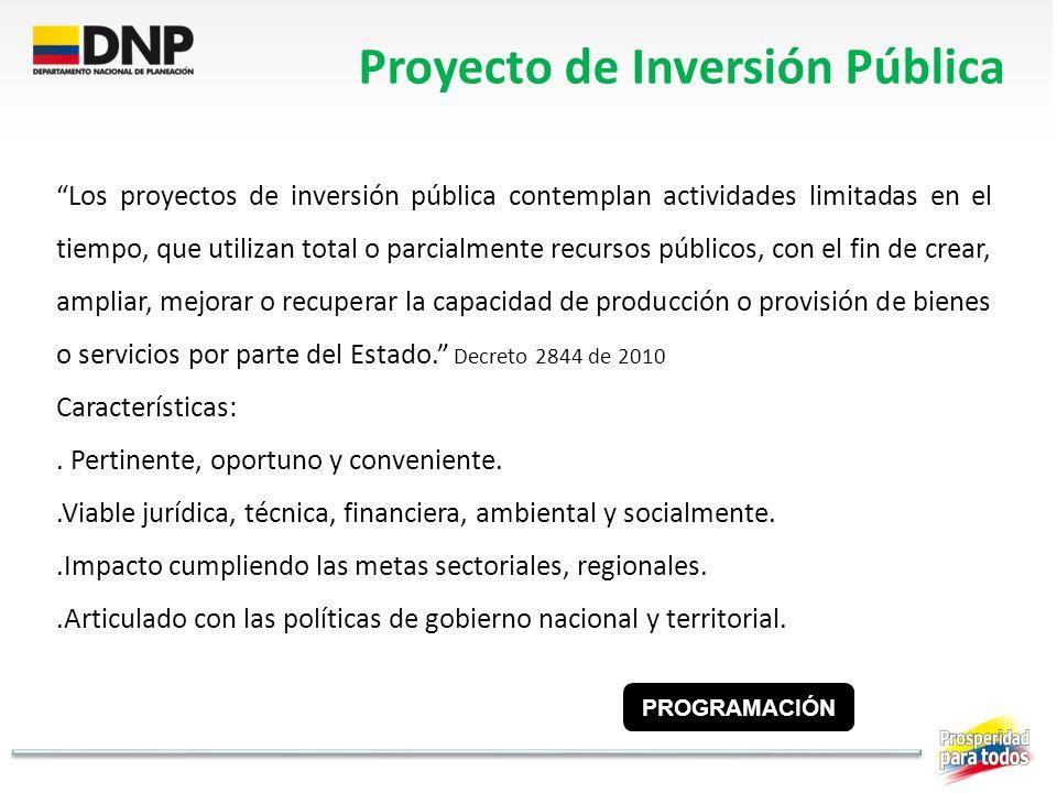Proyecto de Inversión Pública Los proyectos de inversión pública contemplan actividades limitadas en el tiempo, que utilizan total o parcialmente recu