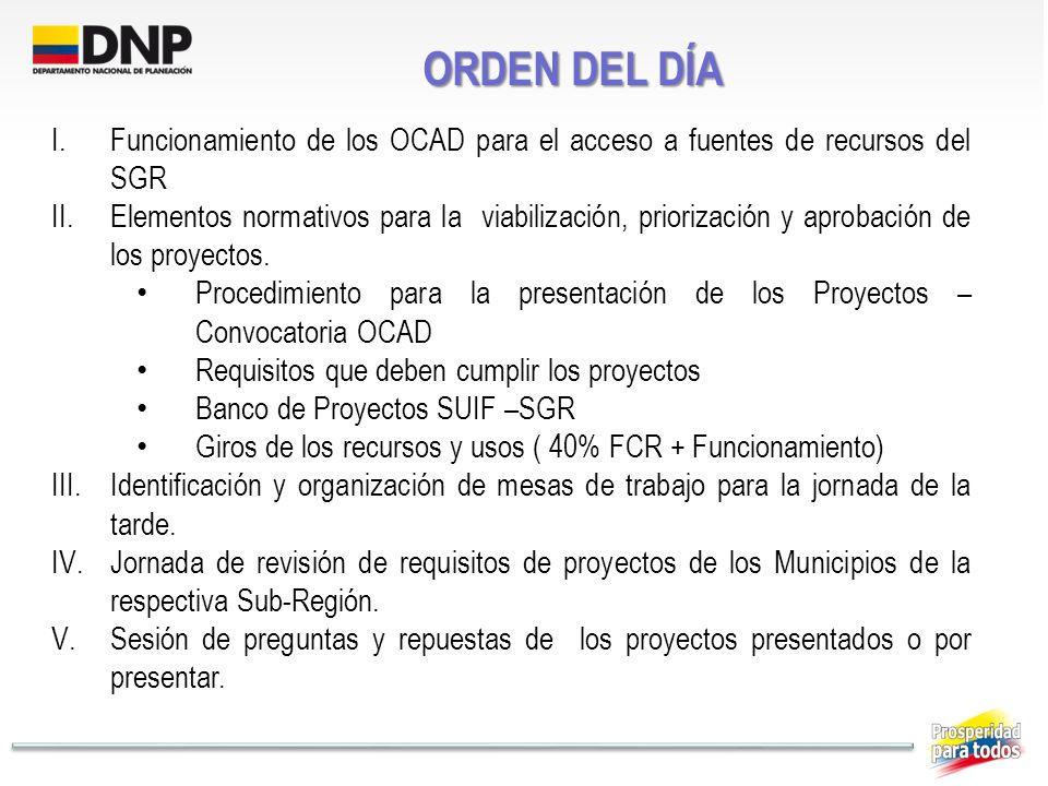 ORDEN DEL DÍA I.Funcionamiento de los OCAD para el acceso a fuentes de recursos del SGR II.Elementos normativos para la viabilización, priorización y