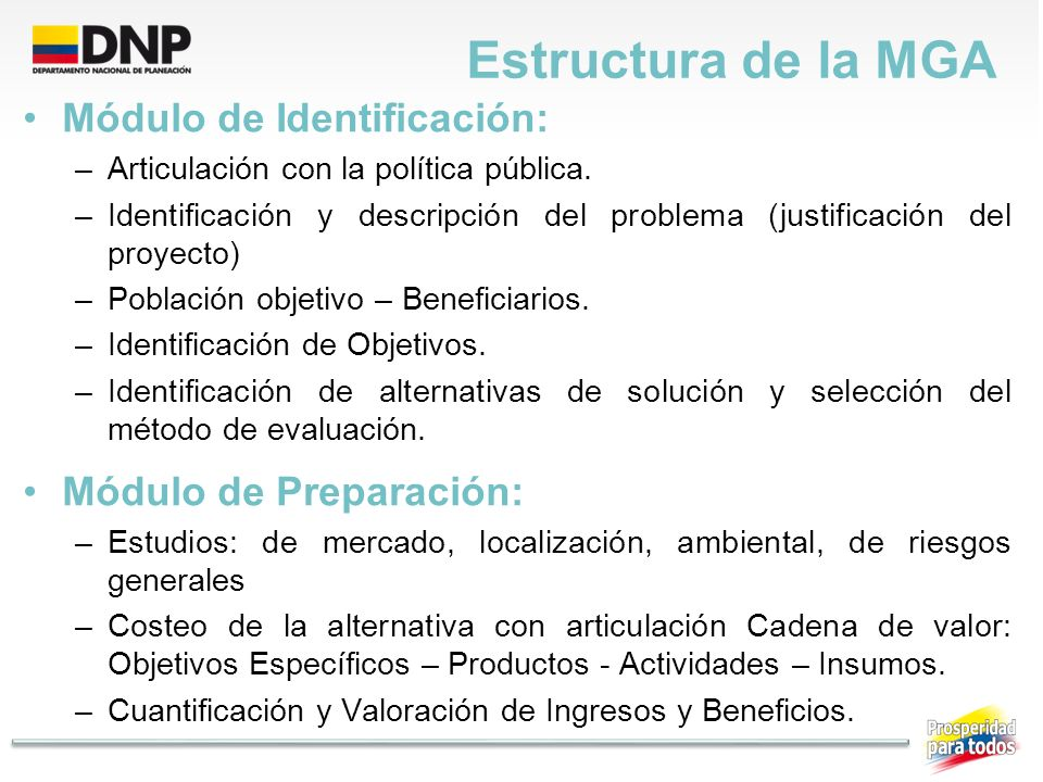 Estructura de la MGA Módulo de Identificación: –Articulación con la política pública. –Identificación y descripción del problema (justificación del pr