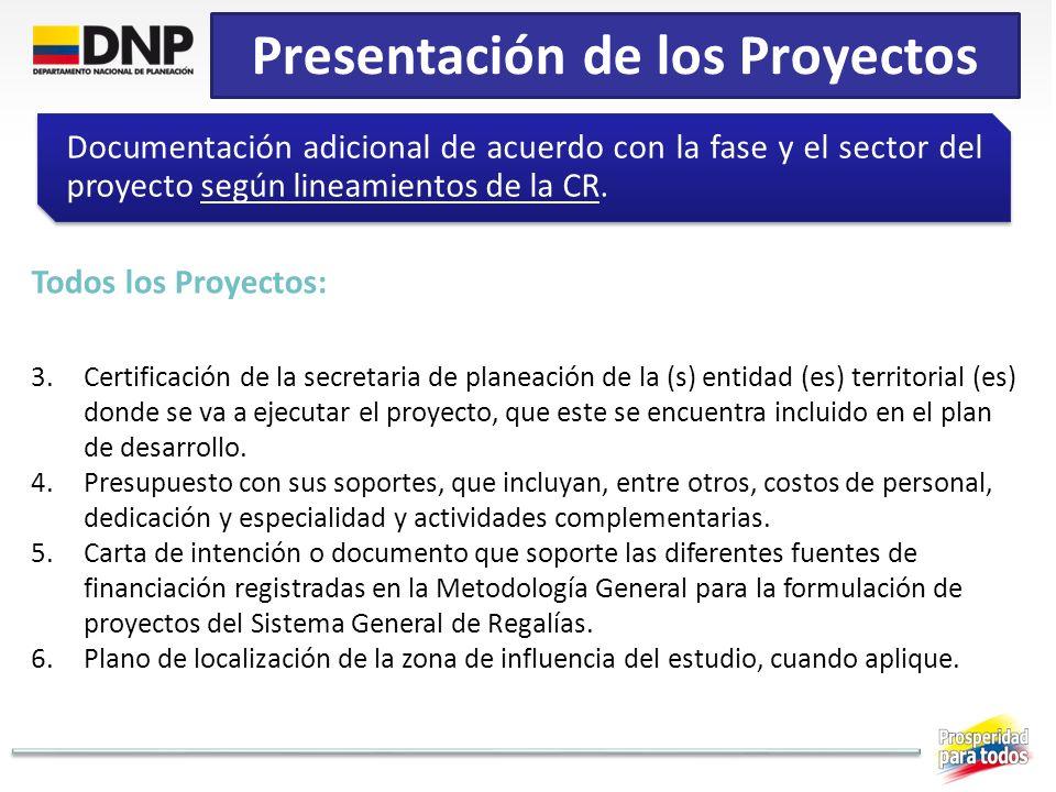 Presentación de los Proyectos Documentación adicional de acuerdo con la fase y el sector del proyecto según lineamientos de la CR. Todos los Proyectos