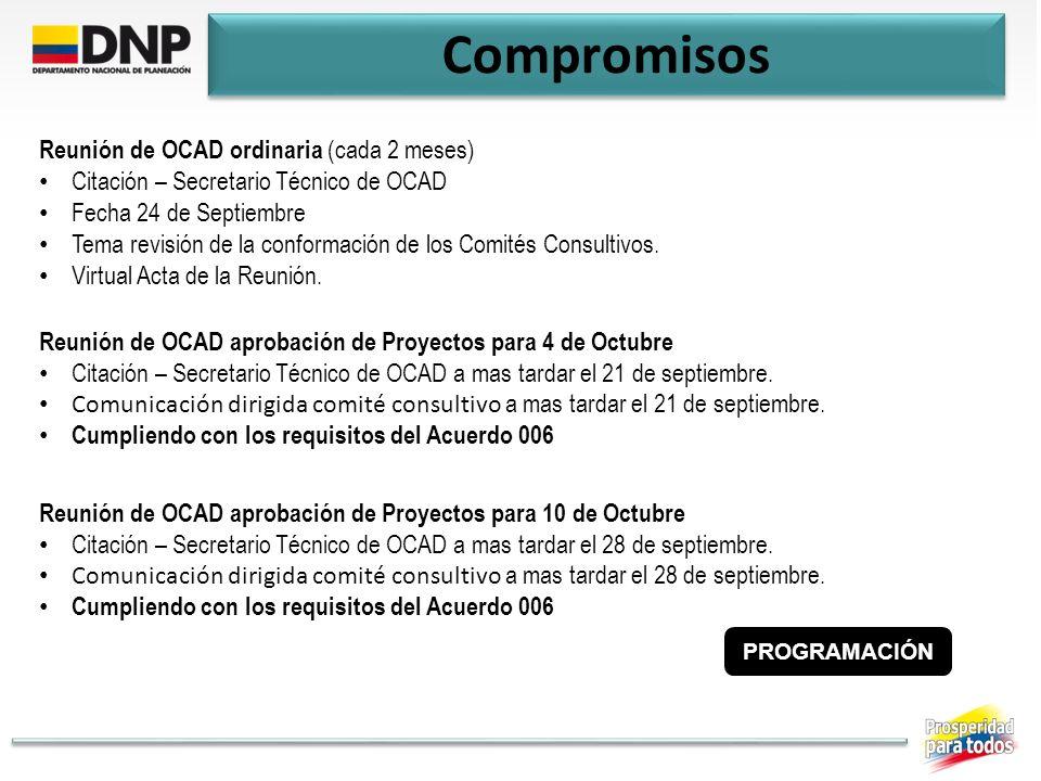 Compromisos Reunión de OCAD ordinaria (cada 2 meses) Citación – Secretario Técnico de OCAD Fecha 24 de Septiembre Tema revisión de la conformación de